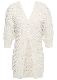3.1 Phillip Lim Woman Aran Split-front Cable-knit Wool Sweater Ivory