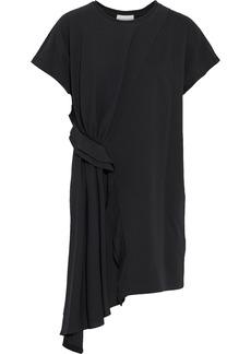 3.1 Phillip Lim Woman Asymmetric Draped Crepe-paneled Cotton-jersey Mini Dress Black
