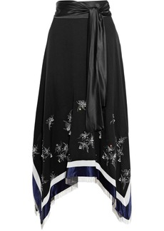 3.1 Phillip Lim Woman Asymmetric Embellished Satin-paneled Silk-crepe Midi Skirt Black
