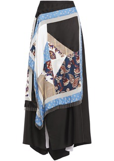 3.1 Phillip Lim Woman Asymmetric Fringed Patchwork Silk Midi Skirt Black