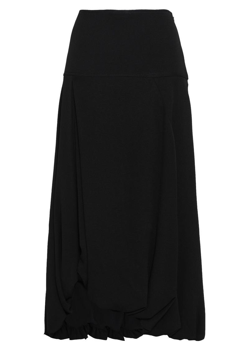 3.1 Phillip Lim Woman Asymmetric Gathered Crepe Midi Skirt Black