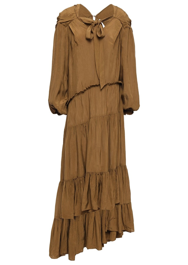 3.1 Phillip Lim Woman Asymmetric Gathered Crinkled-sateen Midi Dress Camel