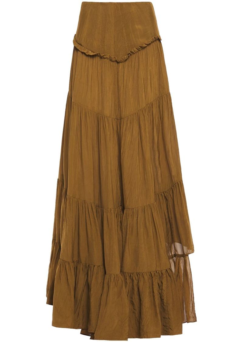 3.1 Phillip Lim Woman Asymmetric Gathered Crinkled-sateen Skirt Camel