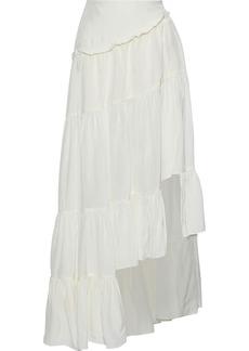 3.1 Phillip Lim Woman Asymmetric Gathered Crinkled-sateen Skirt White