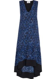 3.1 Phillip Lim Woman Asymmetric Gathered Printed Crepe Midi Dress Black