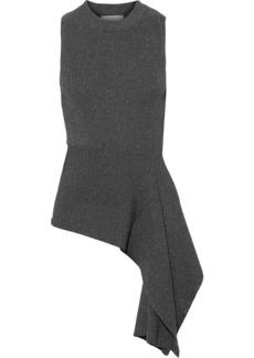 3.1 Phillip Lim Woman Asymmetric Metallic Ribbed-knit Top Gunmetal