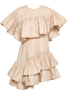 3.1 Phillip Lim Woman Asymmetric Ruffled Cotton-poplin Mini Dress Beige