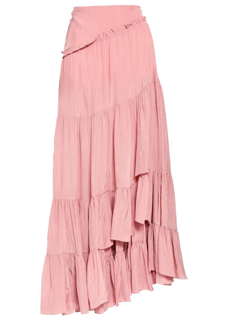 3.1 Phillip Lim Woman Asymmetric Ruffled Crepe Skirt Antique Rose