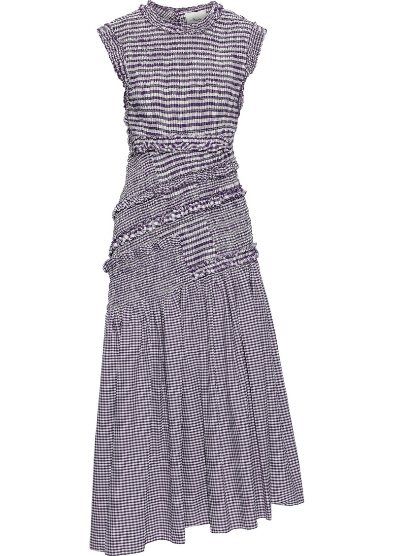 3.1 Phillip Lim Woman Asymmetric Shirred Cotton-blend Poplin Midi Dress Purple