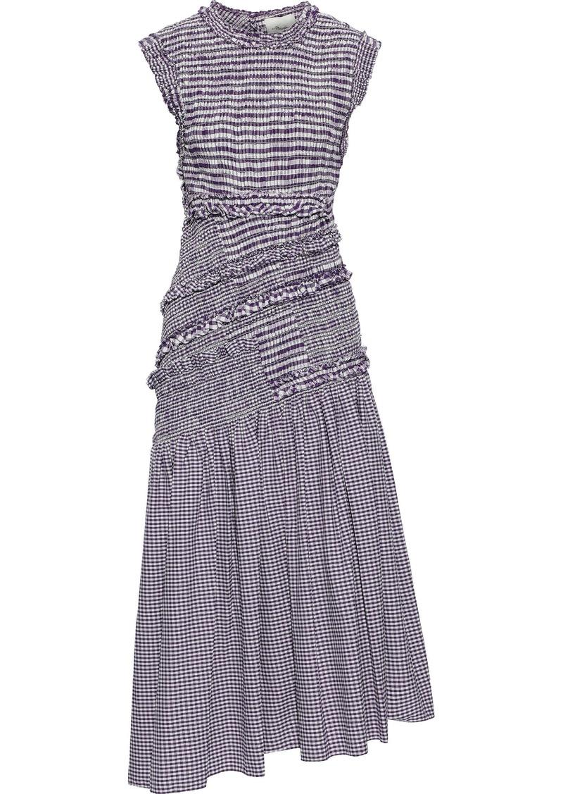 3.1 Phillip Lim Woman Asymmetric Shirred Cotton-blend Poplin Midi Dress Purple