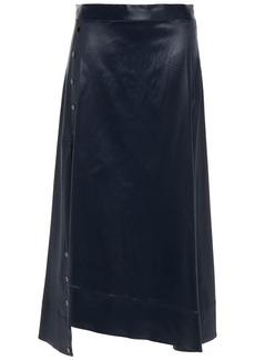 3.1 Phillip Lim Woman Asymmetric Snap-detailed Coated-twill Midi Skirt Midnight Blue