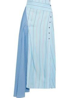 3.1 Phillip Lim Woman Asymmetric Striped Twill And Satin Midi Skirt Blue