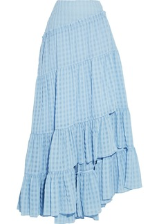 3.1 Phillip Lim Woman Asymmetric Tiered Gingham Seersucker Midi Skirt Light Blue