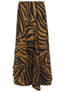 3.1 Phillip Lim Woman Asymmetric Zebra-print Silk-satin Twill Skirt Black