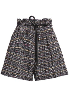 3.1 Phillip Lim Woman Belted Bouclé-tweed Shorts Black