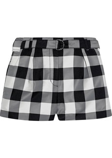 3.1 Phillip Lim Woman Belted Gingham Jacquard Shorts Black