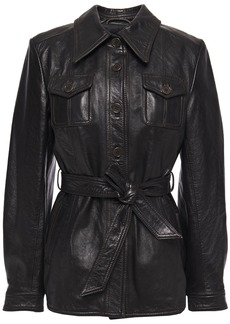 3.1 Phillip Lim Woman Belted Leather Jacket Black