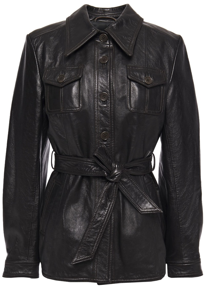 3.1 Phillip Lim Woman Belted Leather Jacket Black