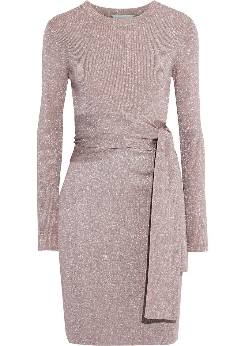 3.1 Phillip Lim Woman Belted Metallic Ribbed-knit Mini Dress Antique Rose
