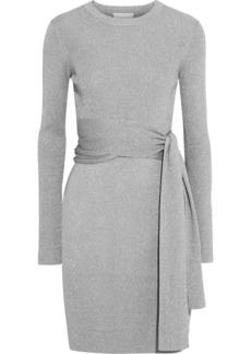 3.1 Phillip Lim Woman Belted Metallic Ribbed-knit Mini Dress Silver