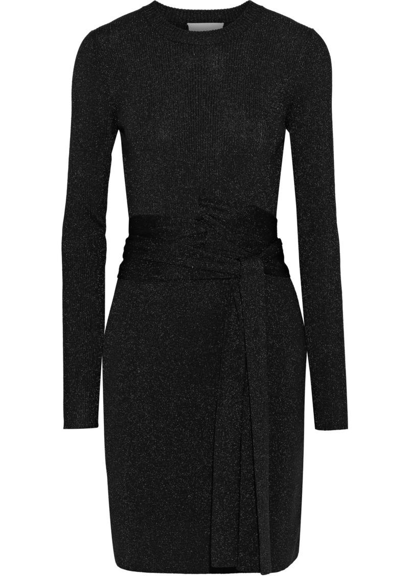 3.1 Phillip Lim Woman Belted Metallic Ribbed Stretch-knit Mini Dress Black