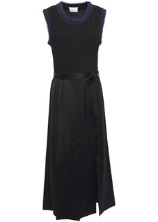 3.1 Phillip Lim Woman Belted Paneled Satin And Jersey Midi Dress Black
