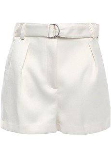 3.1 Phillip Lim Woman Belted Pleated Satin-crepe Shorts Ivory