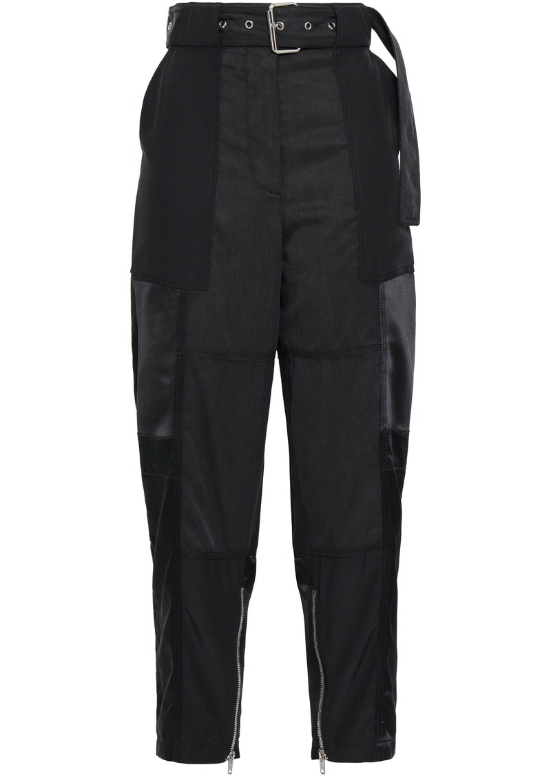 3.1 Phillip Lim Woman Belted Tencel And Cotton-blend Twill Straight-leg Pants Black