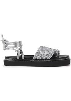 3.1 Phillip Lim Woman Braided Metallic Leather Platform Sandals Silver