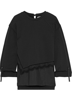 3.1 Phillip Lim Woman Broderie Anglaise Poplin-paneled Cotton-jersey Top Black