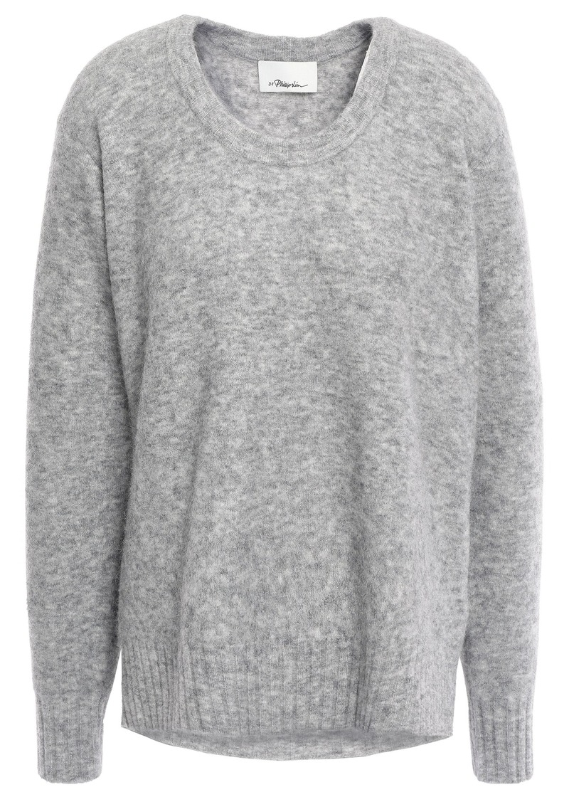 3.1 Phillip Lim Woman Mélange Brushed-knitted Sweater Light Gray