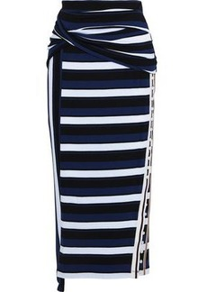 3.1 Phillip Lim Woman Button-detailed Twisted Striped Cotton-jersey Midi Skirt Navy