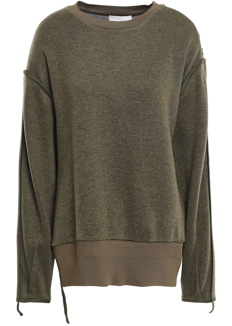 3.1 Phillip Lim Woman Button-embellished Knitted Sweater Army Green