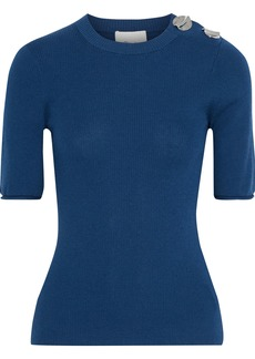 3.1 Phillip Lim Woman Button-embellished Ribbed Wool-blend Top Royal Blue