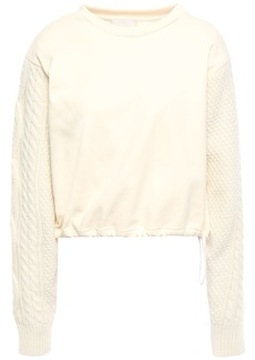 3.1 Phillip Lim Woman Cable Knit-paneled French Cotton-terry Sweatshirt Cream
