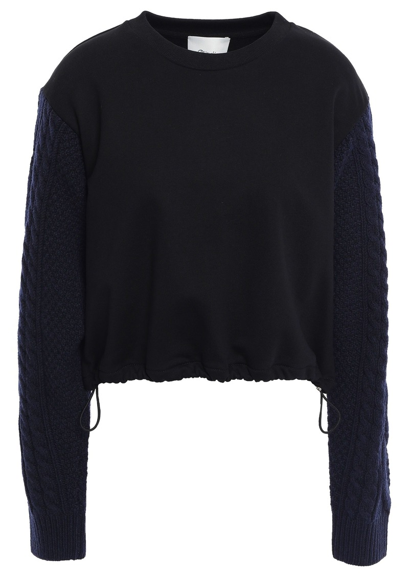 3.1 Phillip Lim Woman Cable Knit-paneled French Cotton-terry Sweatshirt Black