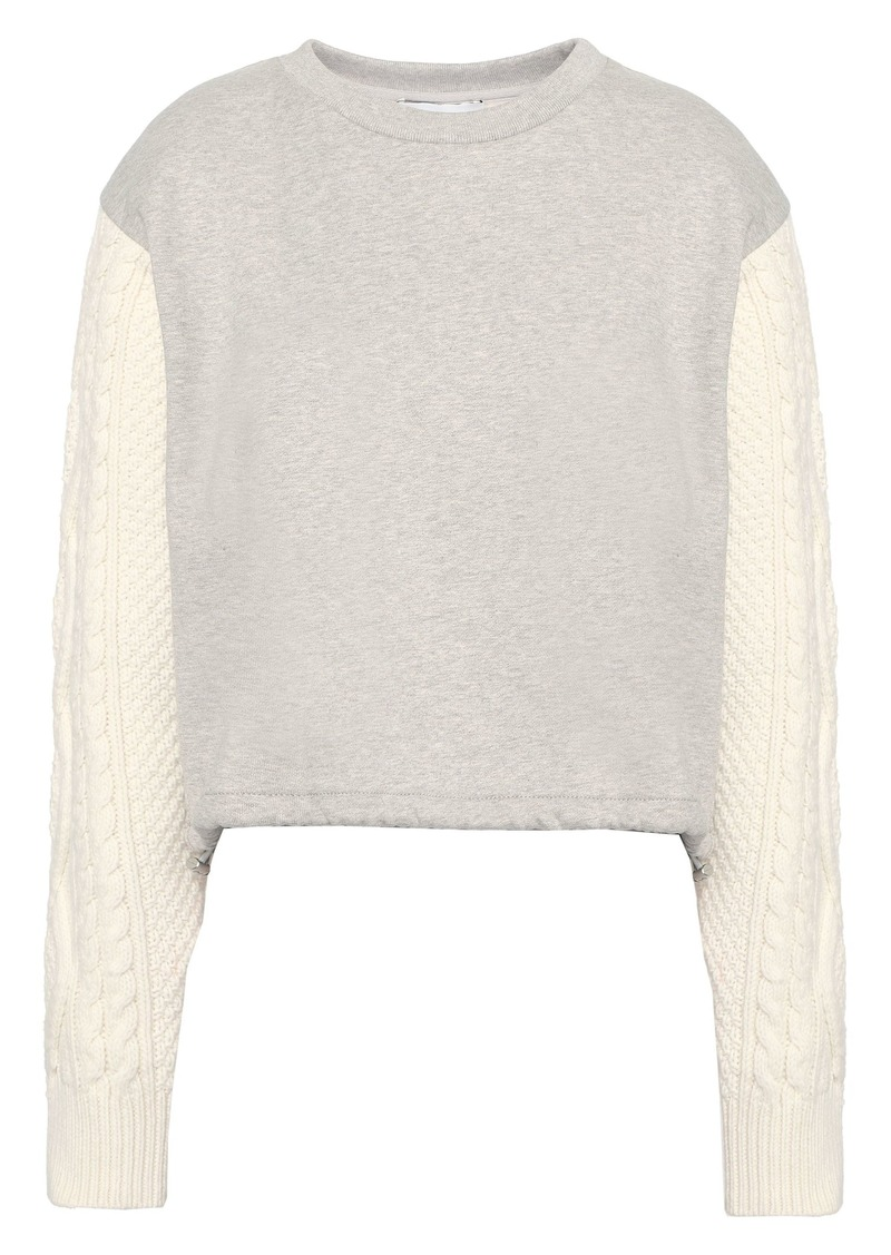 3.1 Phillip Lim Woman Cable Knit-paneled French Cotton-terry Sweatshirt Light Gray