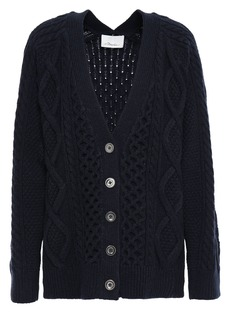 3.1 Phillip Lim Woman Cable-knit Wool Cardigan Midnight Blue