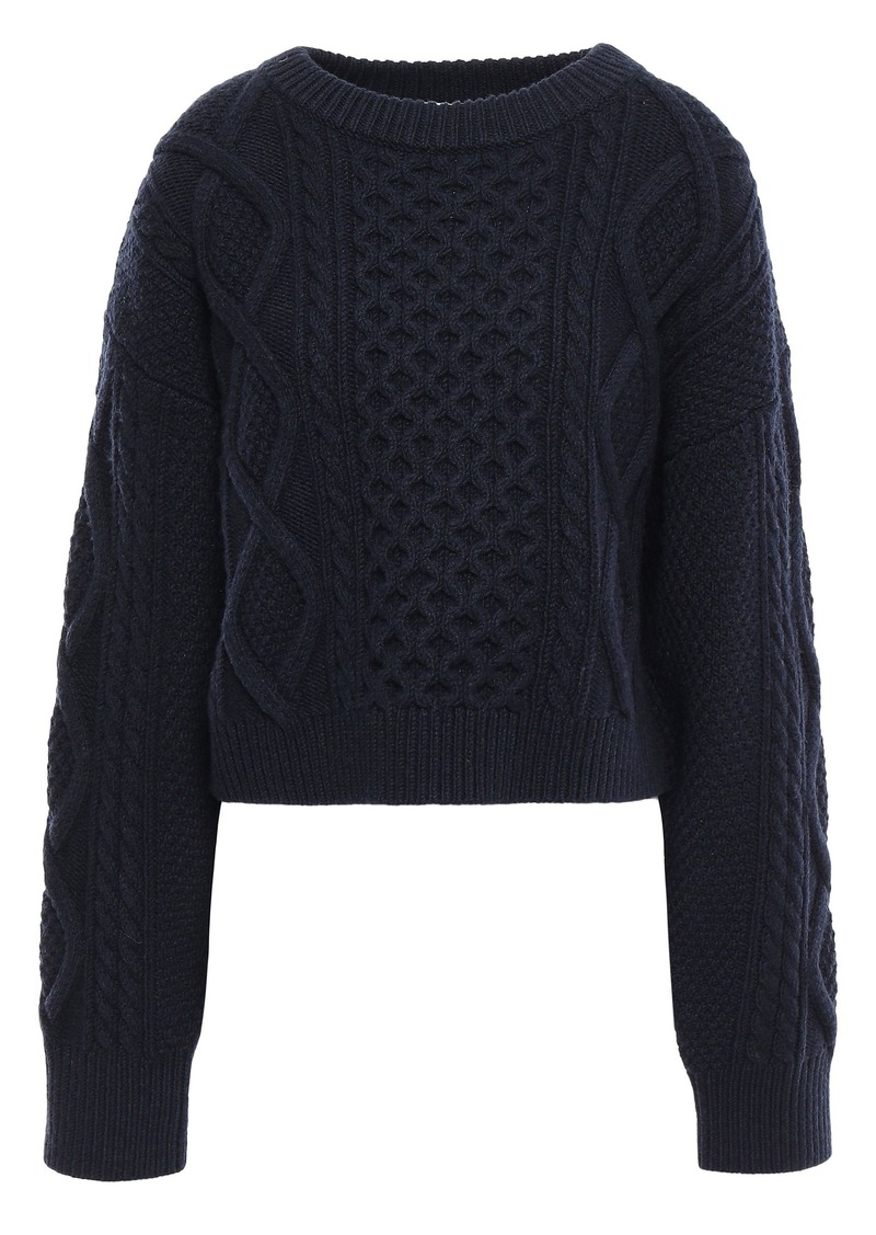 3.1 Phillip Lim Woman Cable-knit Wool Sweater Navy