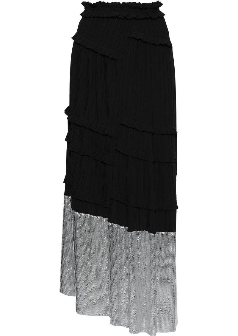 3.1 Phillip Lim Woman Chainmail-paneled Pleated Crepe Maxi Skirt Black