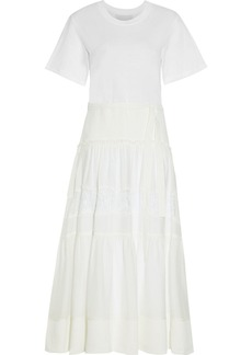 3.1 Phillip Lim Woman Chantilly Lace-trimmed Crepe And Jersey Midi Dress Ivory