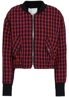 3.1 Phillip Lim Woman Checked Stretch-crepe Bomber Jacket Red