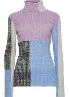 3.1 Phillip Lim Woman Color-block Marled Ribbed-knit Turtleneck Sweater Purple