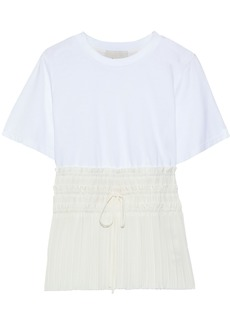 3.1 Phillip Lim Woman Cotton-jersey And Pleated Crepe De Chine T-shirt White
