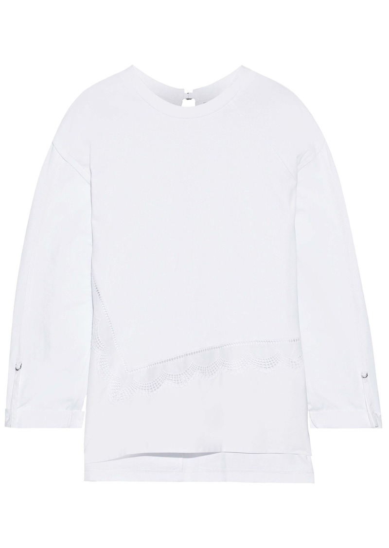 3.1 Phillip Lim Woman Crochet-trimmed Poplin-paneled Cotton-jersey Top White