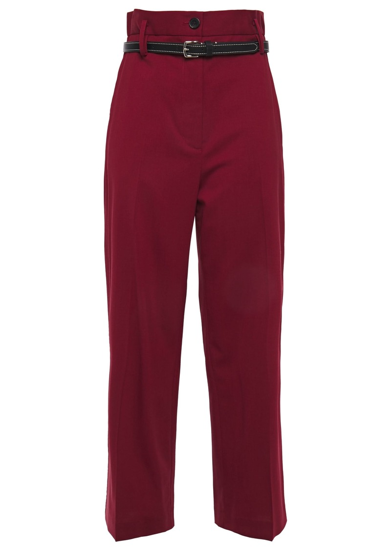 3.1 Phillip Lim Woman Cropped Belted Wool-blend Straight-leg Pants Crimson
