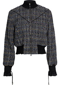 3.1 Phillip Lim Woman Cropped Bouclé-tweed Track Jacket Black