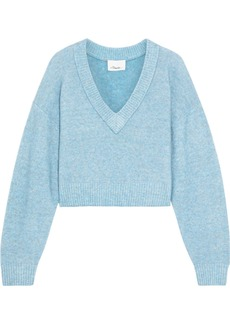 3.1 Phillip Lim Woman Cropped Brushed Knitted Sweater Light Blue