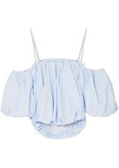 3.1 Phillip Lim Woman Cropped Cold-shoulder Cotton-poplin Top Light Blue