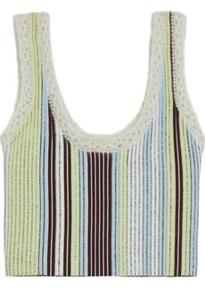 3.1 Phillip Lim Woman Cropped Crochet-trimmed Striped Jacquard-knit Tank Chartreuse